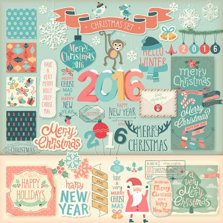 invitation card: Christmas scrapbook set - decorative elements. Vector illustration.