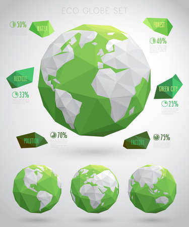 environment geography: Set of vector eco globes - geometric modern style.Vector illustraition.