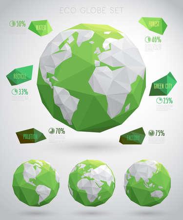 Set of vector eco globes - geometric modern style.Vector illustraition.