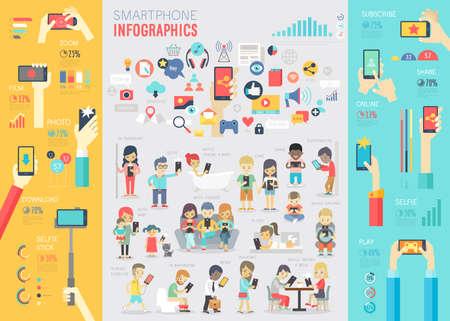 Smartphone Infographic set met grafieken en andere elementen. Vector illustratie.