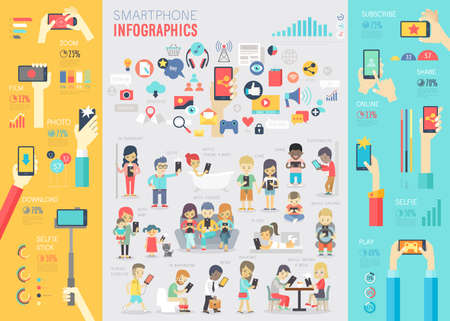 media gadget: Smartphone Infographic set with charts and other elements. Vector illustration.