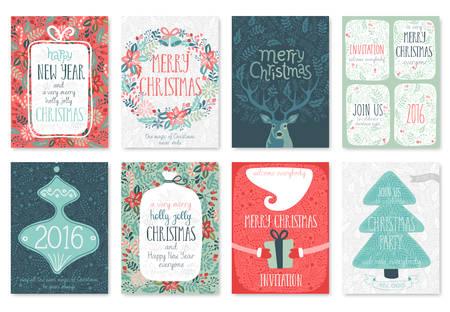 cintas  navide�as: ChristChristmas dibujado a mano conjunto de tarjetas. Ilustraci�n del vector. Vectores