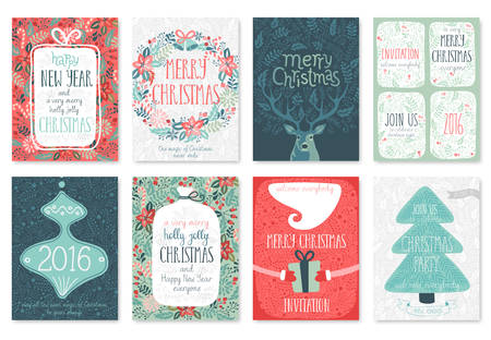 funny animals: ChristChristmas hand drawn card set. Vector illustration.