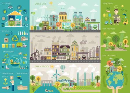 medio ambiente: Ciudad verde Infografía conjunto con gráficos y otros elementos. Ilustración del vector. Vectores