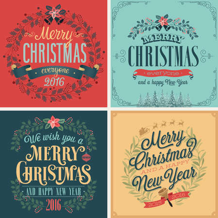 Christmas set - typographic cards for your design.Vector illustration. Çizim