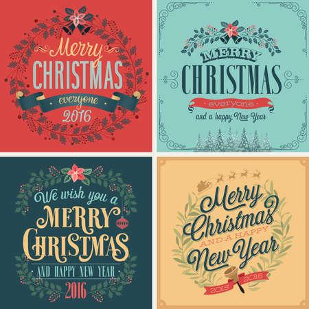 Kerst set - typografische kaarten voor uw design.Vector illustratie. Stock Illustratie