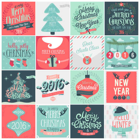 etiqueta: Christmas set - labels, emblems and other decorative elements. Vectores