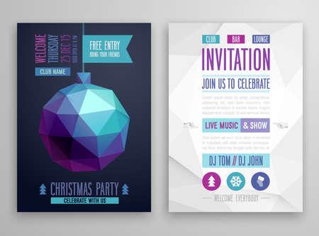 christmas snow: Christmas flyer - geometric style.Vector illustration.