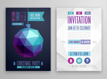 Christmas flyer - geometric style.Vector illustration.
