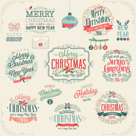 text: Christmas set - labels, emblems and other decorative elements. Illustration
