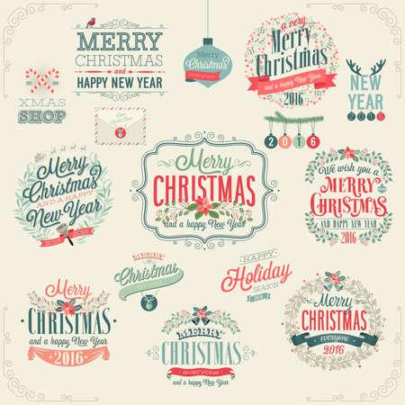 Kerst set - labels, emblemen en andere decoratieve elementen. Stock Illustratie