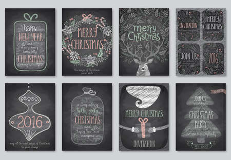 illustraition: Set of Christmas emblems - Chalkboard.Vector illustraition.
