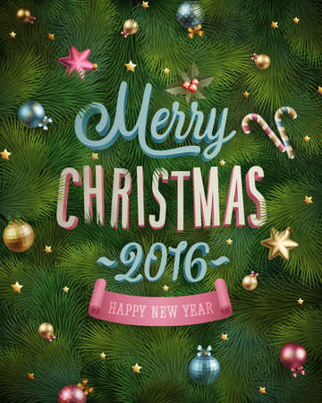 tree texture: Christmas poster with fir tree texture and baubles. Vector illustration. Illustration