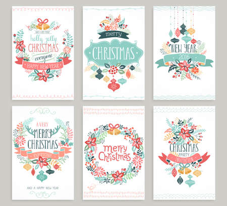 funny christmas: Christmas hand drawn card set. Vector illustration.