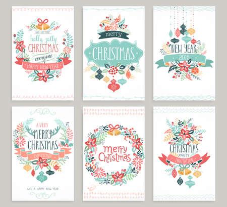 Kerstmis de hand getekende kaart set. Vector illustratie.
