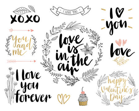 wreath: Valentine`s Day Lettering Design Set - hand drawn Vector illustration.