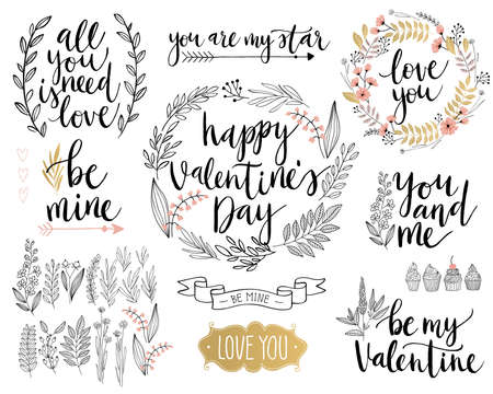brush: Valentine`s Day Lettering Design Set - hand drawn Vector illustration.
