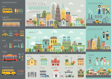construccion: vida de la ciudad Infografía conjunto con gráficos y otros elementos.