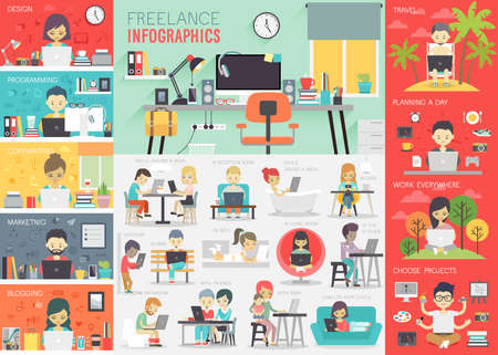 home office interior: Freelance Infographic set with charts and other elements.