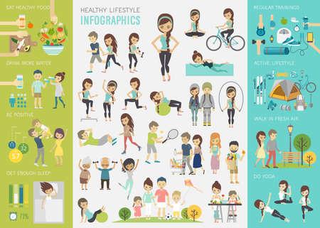 건강: 건강한 라이프 스타일 인포 그래픽 차트 및 기타 요소로 설정합니다.