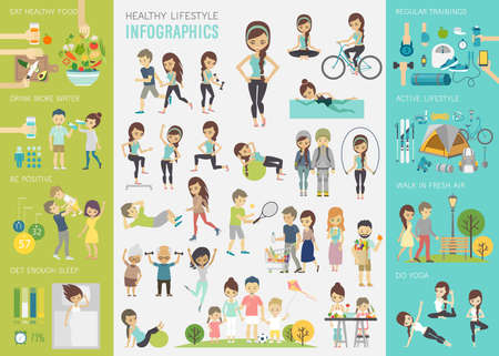 Healthy lifestyle infographic set with charts and other elements. Иллюстрация