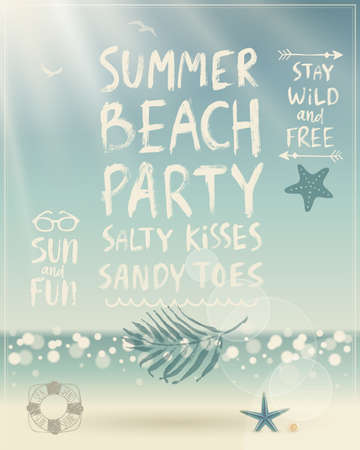 beach party: Summer Beach Party poster with handwritten calligraphy. Illustration