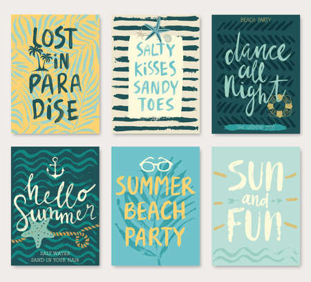 Summer hand drawn calligraphy card set.