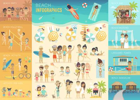 životní styl: Beach Infographic set s grafy a další prvky.