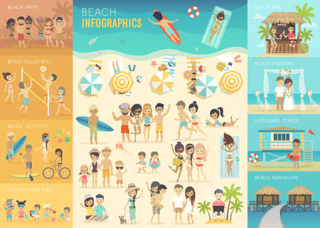 Beach Infographic set with charts and other elements. Çizim