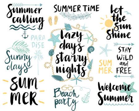 Summer Lettering Design Set - hand drawn Vector illustration.