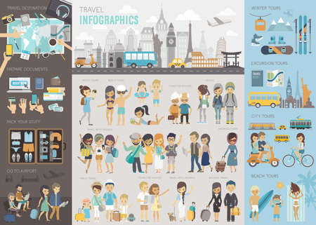 Travel Infographic set with charts and other elements. Vettoriali