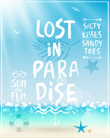 paradise beach: Lost in paradise poster with handwritten calligraphy.
