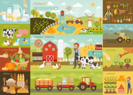 Farming Infographic set met dieren, apparatuur en andere voorwerpen. Vector illustratie.