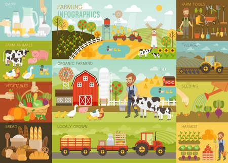 objects equipment: Farming Infographic set with animals, equipment and other objects. Vector illustration.