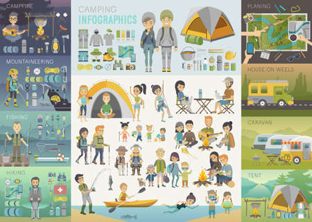 couple hiking: Camping Infographic set with people and objects. Vector illustration.