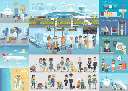 Airport Infographic set with charts and other elements. Vector illustration. Vettoriali