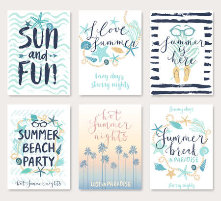 Summer hand drawn calligraphyc card set. Vector illustration.
