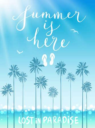 De zomer is hier poster met handgeschreven kalligrafie. Vector illustratie. Stock Illustratie