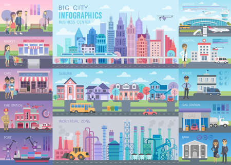 Big City Infographic set with charts and other elements. Vector illustration.