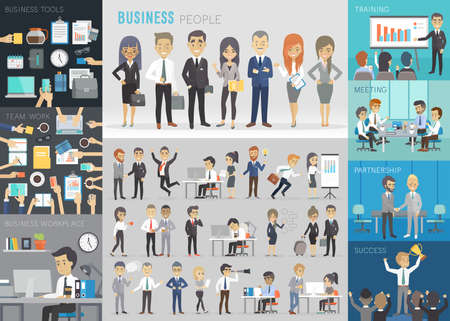 Business people set. Vector illustration. Çizim