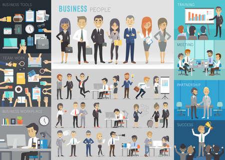 business partner: Business people set. Vector illustration. Illustration