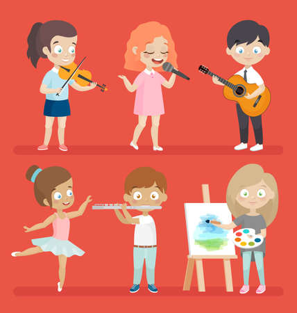 schoolmate: Creative kids playing musical instruments, dancing, painting, playing and singing.