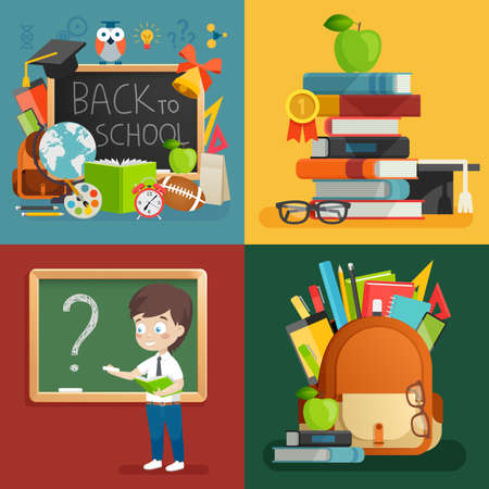 School theme set. Back to school, backpack, schoolboy and other elements. Vector illustration. Stock Illustratie