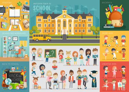 escuela: estableció tema de la escuela. Volver a la escuela, lugar de trabajo, los niños escolares y otros elementos. Ilustración del vector.