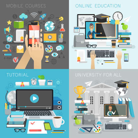 tutorial: Online Education, tutorial, university for all and mobile courses concepts. Vector illustration.