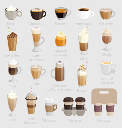 glace: Coffee set. Vector illustration.