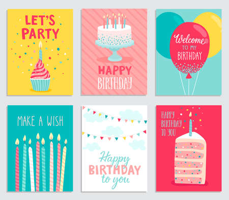 BANNER DESIGN: Birthday card set. Vector illustration.