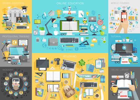Online onderwijs set. Mobile cursussen, leerprogramma, mondiale vorming, webinar, beroepsopleiding, online bibliotheek, werkplek concepten. Stock Illustratie