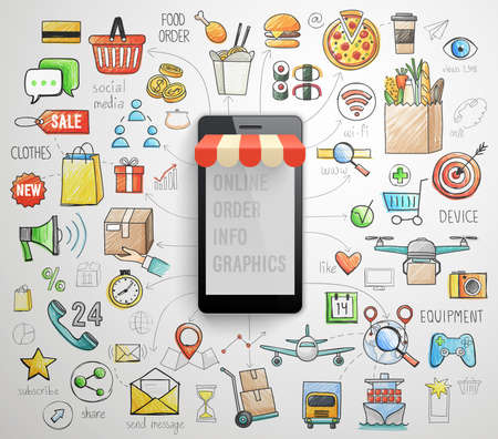 social icon: Online Order Smart Phone infographics - hand drawn style. Vector illustration.