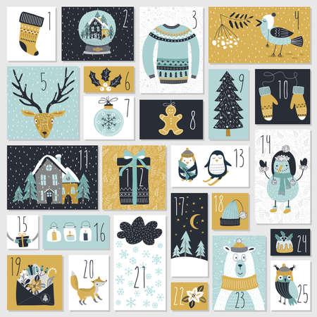 Calendario di avvento di Natale, stile disegnato a mano. Illustrazione vettoriale. Vettoriali